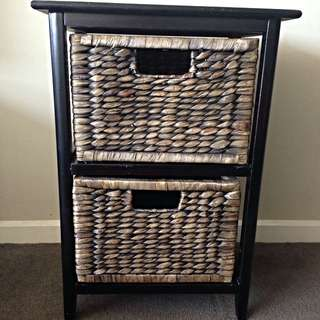 Wood/wicker Drawers Or bedside Table