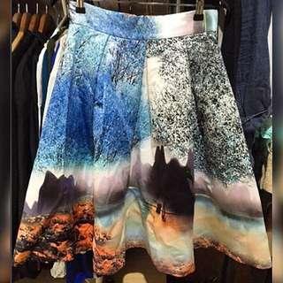 Worn Once Landscape Print Skirt