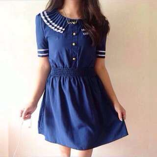 Buttoned Satin Blue Dress 💞💞
