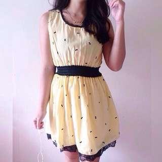 Cute Light Yellow Ribbon Dress 💞💞