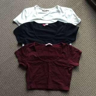 3x Cropped Shirts