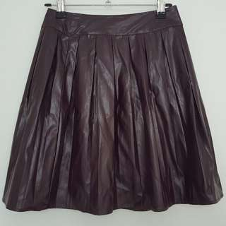 ASOS petite pleated pleather skater skirt