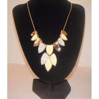 Leafy Rhinestone Statement Gold Plated Bib Necklace