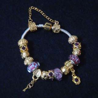 Murano Charm Bracelet (Pink and Purple Hue)