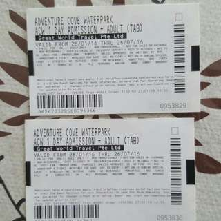 2 Adult Adventure Cove Tickets Valid Till 26/07(Reserved)
