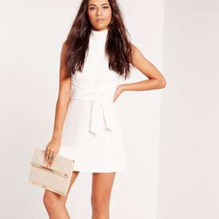 Missguided High Neck Tie Waist Shift Dress White Size 4