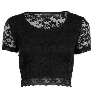 Topshop Floral Lace Crop Top