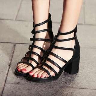 羅馬5cm粗跟涼鞋