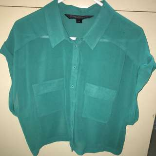 Forever New Green Button Up Crop