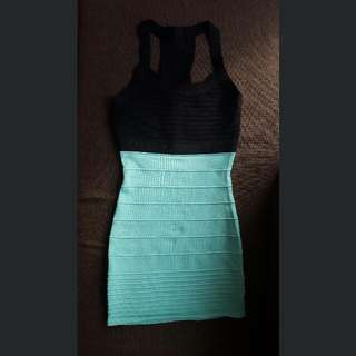 Forever21 Black and Teal Bodycon Dress