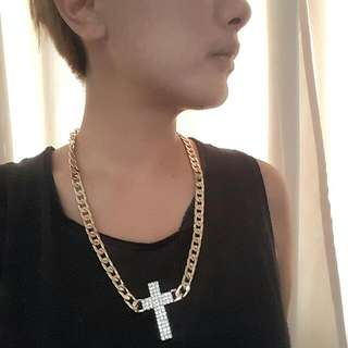 Gold Chain with Faux Diamond Cross Necklace