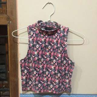 Turtle-neck Floral F21 Top