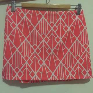Geometric Pattern Coral Skirt