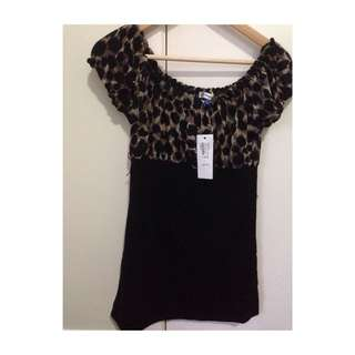 Tempt Black And Leopard Dress Large New With Tags