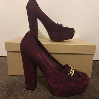 Burgundy Loafer Style Heels