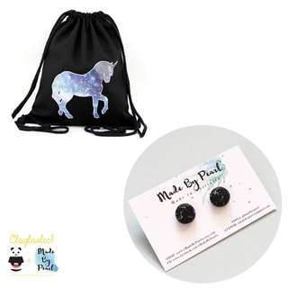 Galactical Bundle: Galactical Unicorn Drawstring (Bag + Earrings)