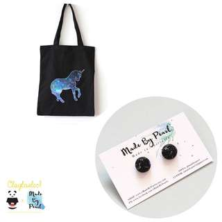 Galactical Bundle: Galactical Unicorn Tote (Bag + Earrings)