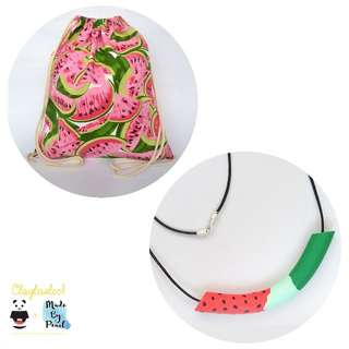 Jolly Watermelon Bundle: Watermelon Patterned Drawstring (Bag + Necklace)