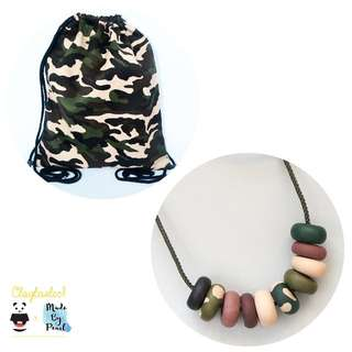 Military Style Camouflage Green Bundle (Bag + Necklace)