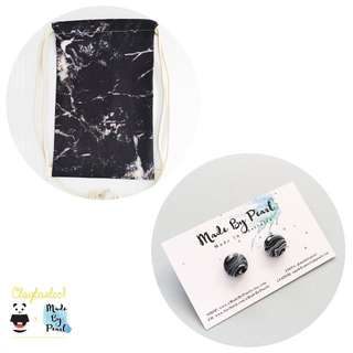 Minimalist Marblelicious Bundle: Black Marble (Bag + Earrings)