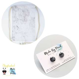 Minimalist Marblelicious Bundle: White Marble (Bag + Earrings)