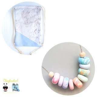 Paddlepop Swirl Bundle: Blue Marblelicious (Bag + Necklace)