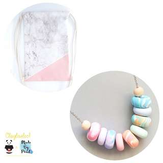 Paddlepop Swirl Bundle: Pink Marblelicious (Bag + Necklace)