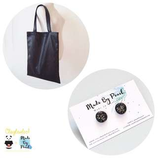 Pleather & Shine Tote Bundle (Bag + Earrings)