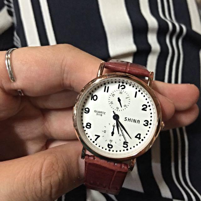 復古玫瑰金韓錶