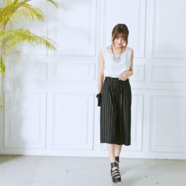 【G2】直條紋鬆緊綁帶超彈性高腰寬褲