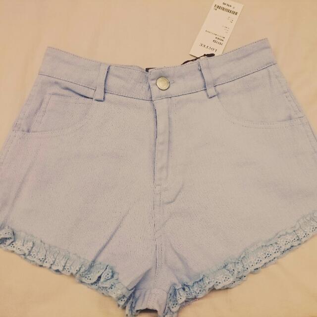 (全新)清新活力花邊造型短褲