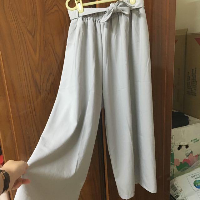 灰色 條紋八分寬褲