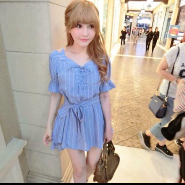 轉賣 梨花 香草 茉莉 正韓藍色條紋天使小洋裝