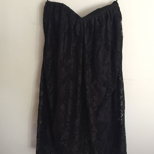 Asos Black Strapless Lace Dress