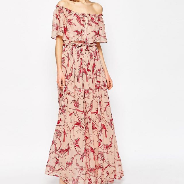 9559d084614 ASOS Printed Ruffle and Tiered Off Shoulder Maxi Dress