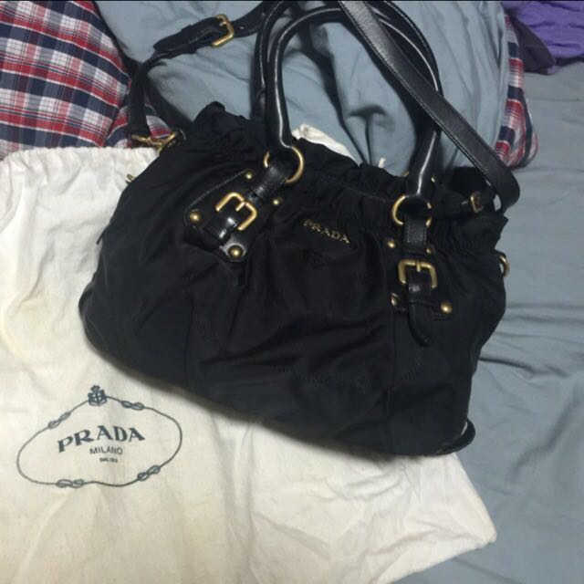 09db846cc9e1 Authentic Prada Black Nylon Jacquard + Nappa Nero BR4259, Luxury on ...