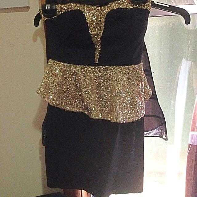 Black And Gold Boobtube Dress