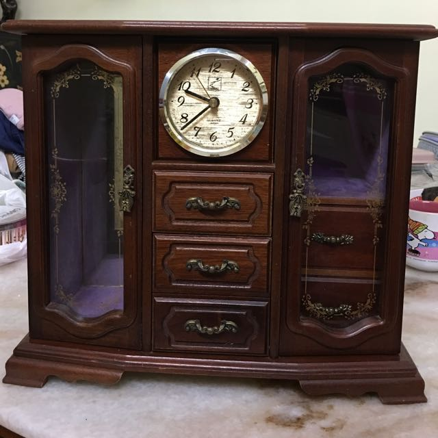 Classic Jewellery Box With Clock