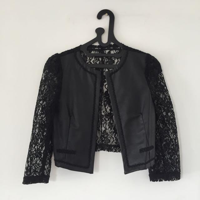 Crop Lace Mix Leather Jacket
