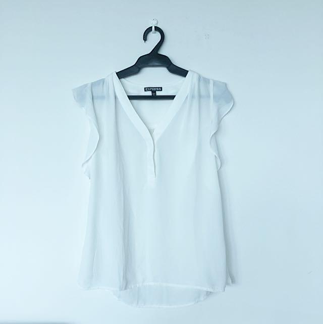 Express White V-neck Top