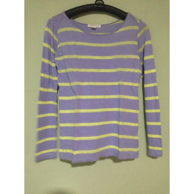 F21 Violet Striped Long Sleeves