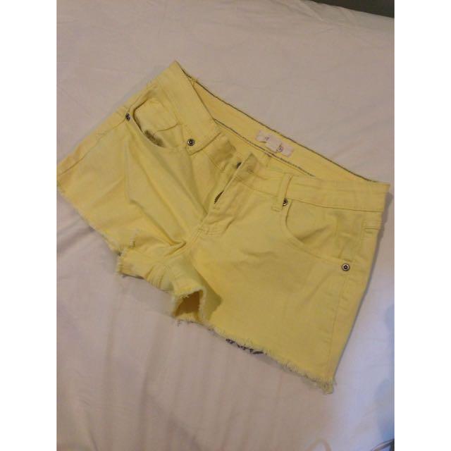 F21 Yellow Denim Shorts (size 25)