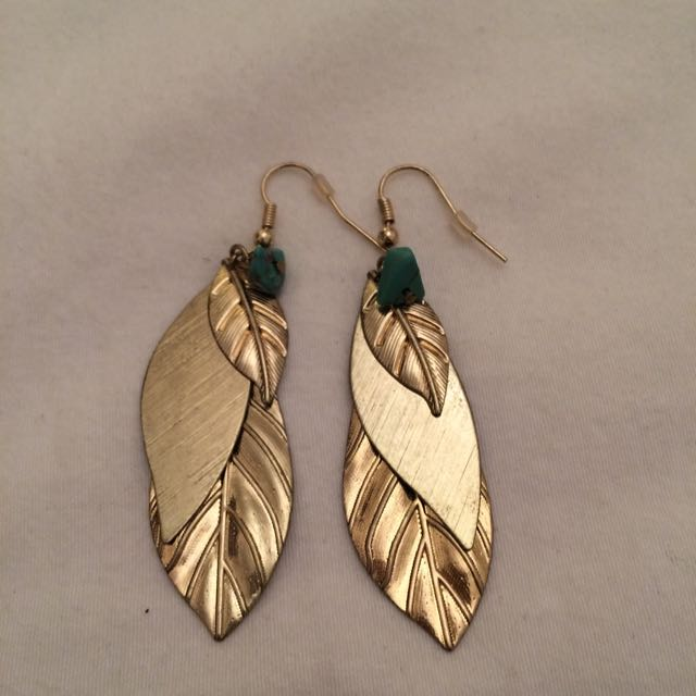 Feather Gold Coloured Earrings