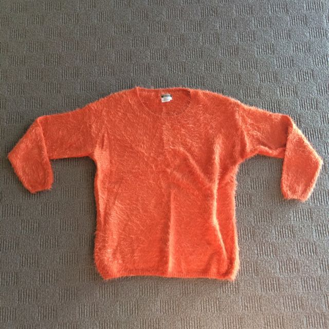 Fluffy Orange Sweater
