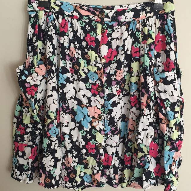 Forever New Floral Button Up Skirt