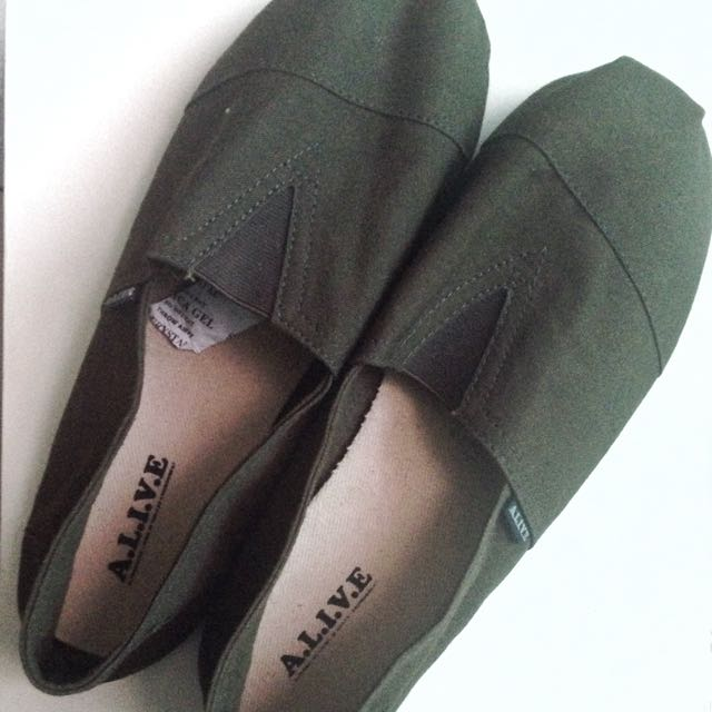 Green Army Slip On Shoes