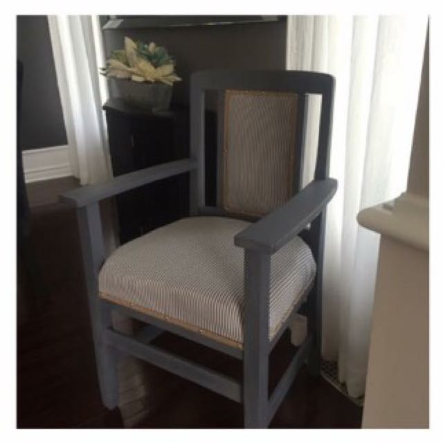 Grey Wooden Arm Chair