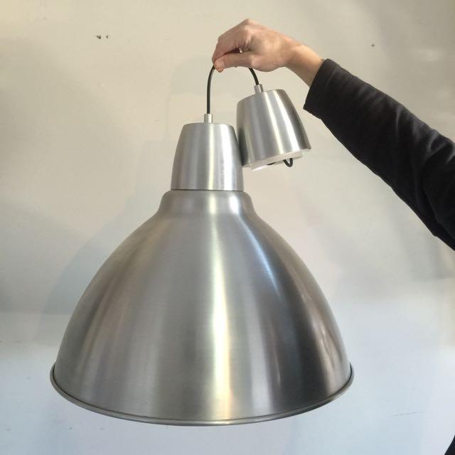 IKEA FOTO pendant light lamp aluminum shade Dome Silver