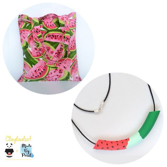 Jolly Watermelon Bundle: Watermelon Patterned Tote (Bag + Necklace)