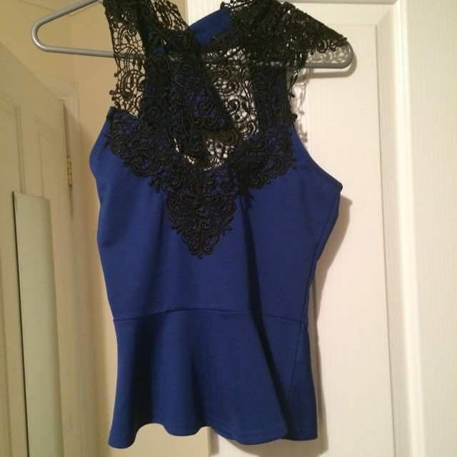 Lacer Cut Blue Dress